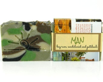 MAN soap for him - Bay, Sandalwood, Patchouli SOAP / Mens Cold Process Soap / Father's Day