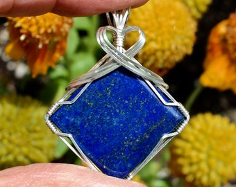 Deep Blue Lapis Stone Pendant, Lapis Lazuli Stone, Argentium Sterling Silver Wire Wrapped, Jewelry Necklace