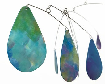 Large Hanging Mobile Art - READY TO SHIP - Rain in Blue Green Aqua Purple White and Turquoise Monets Garden in the Rain