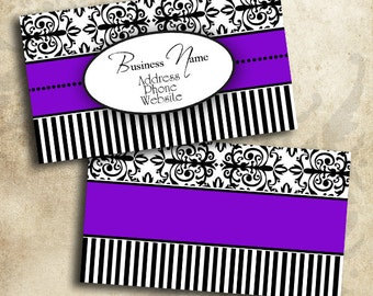 Purple Black & White Damask Business Card Template INSTANT DOWNLOAD 3.5 x 2 Inches Calling Card Elegant Design (BC24)