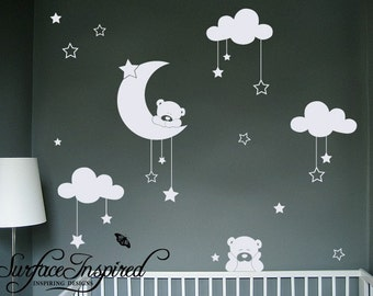 Nursery Wall Decals - Cuddly bear wall decals with stars and cloud decals. Wall decals for boys and girls nursery.