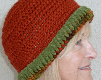 Orange crochet hat with such versatile style, unique winter hat in orange and green, women's fashion is here with this hat, comfortable hat