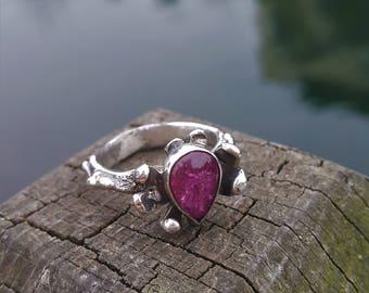 Pink Rubellite Tourmaline Ring - Handmade & Silver