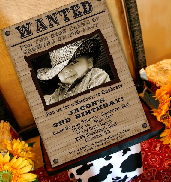 Cowboy Birthday Invitation Cowboy Western Party Invitation