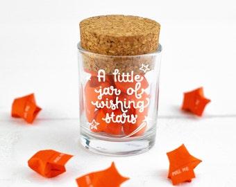 Gift for Friend - A Little Jar of Wishing Stars - Motivational messages, Mothers Day Gift, origami stars, birthday gift, origami gift