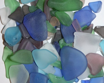 1 lb) Jewelry grade sea glass, free shipping, craft ready bulk sea glass, machine tumbled sea glass, assorted colors sea glass, S