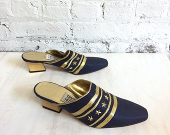 vintage 80s nautical mules / Timothy Hitsman stars and stripes open back slip on heels / navy blue and gold bedazzled star mules