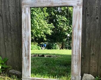 White Mirror Whitewash Wood Wood Frame Mirror Farmhouse Mirror Rustic Wood Mirror Bathroom Mirror Vanity Mirror Large Mirror Small Mirror