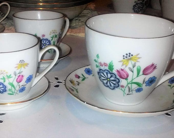 Bohemia Coffee Cups by Brigitta-  RARE SMALL Expresso Coffee Cups AND Saucers. Set of 4 , with reduced shipping