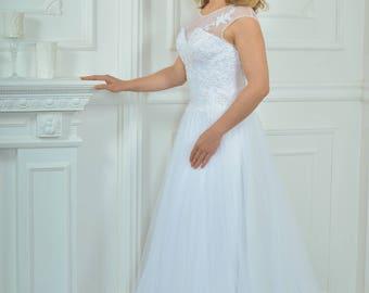 Long Wedding Dress, Lace Wedding Dress A-silhouette