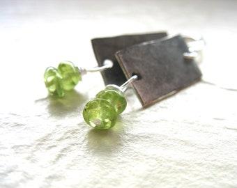 Peridot Earrings, Handmade Metalwork Peridot Gemstone Dangle Drop Earrings, Peridot Jewelry, Gemstone Jewelry