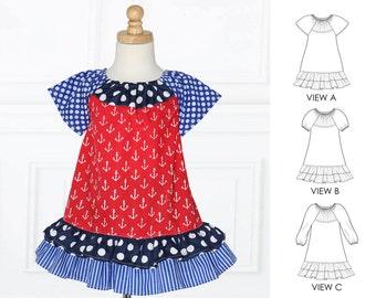 Girls Dress Pattern, Peasant Dress Patterns, Dress Patterns, Beginners Sewing Pattern, Long Sleeve Pattern, PDF Sewing Pattern, PEGGY