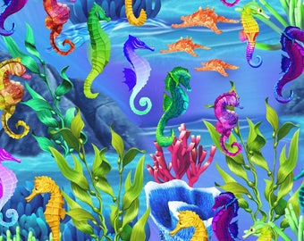 Timeless Treasures Sea Life Sea Horses Fabric - 1 yard