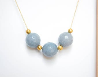 Faceted Blue Jade and Gold Beads Necklace