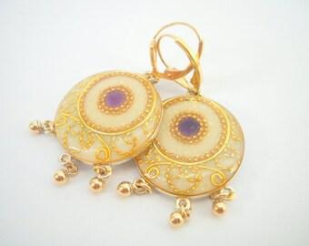Amethyst earrings, sterling silver, White & gold earrings inlaid with purple Amethyst, Dangle earrings, golden filigree, leverback earrings