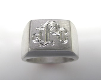 Personalized Heavy Solid Hand Engraved Signet Monogram Ring in Sterling Silver