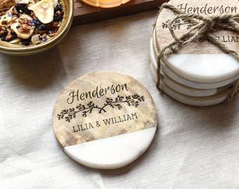 Personalized Wedding Gifts for Couple. Unique Wedding Gift Marble Wood Drink Coasters.