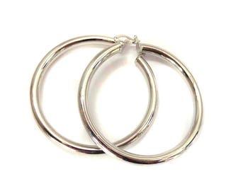 Large Rhodium Plated Polished Hoop Earrings Silver 3 inch Hoop Earrings