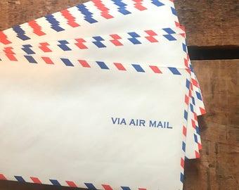 Vintage Air Mail Envelopes - Set of 10 - Collage, Scrapbooking, Vintage Airmail Envelopes, Vintage Paper Ephemera, Crafting Supplies