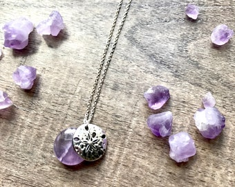 Amethyst Sand Dollar Charm Necklace (Sterling Silver)
