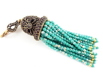 Large Long AB Turquoise Facet Cut Red Crystal Beaded Tassel with Crystal Accents - Antique Bronze - 1PC