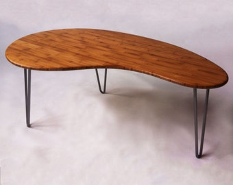 Mid Century Modern Coffee Table Kidney Bean Shaped Atomic Eames Era  Boomerang Design in Bamboo