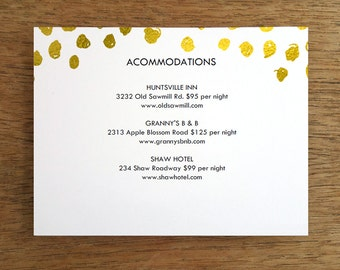 Printable Wedding Card Template - Gold Dots - Wedding Direction Card - Rehearsal Dinner Invitation Download - Wedding Information Card