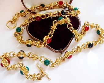 vintage KJL Mughal style necklace   Kenneth J Lane   thick gold tone chain   glass cabs cabochons   mogul chain   gripoix style