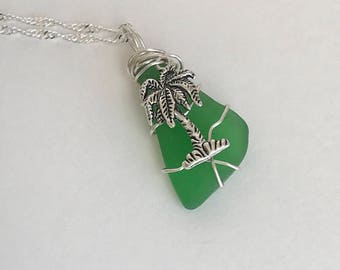 Wire Wrapped Genuine Green Sea Glass Necklace