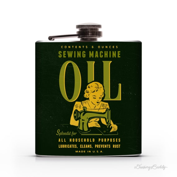 Vintage Sewing Machine Oil - 6oz Whiskey Hip Flask