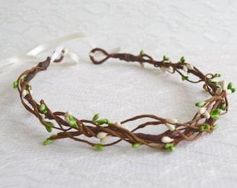 Woodland Green & Ivory Berry Pip Circlet, bridesmaid, flowergirl, wedding headband, berry pip halo, rustic circlet, berry crown, - RUSTIC -