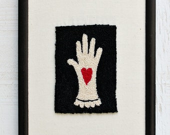 Heart in Hand Crewel Work Fiber Art Framed, Folk Art Amish Style, Symbol of Charity, Given from the Heart Symbolism Meaningful Gift