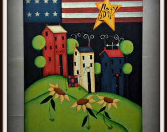 Primitive Americana 11 14 Wrapped Canvas Saltbox House Flag Flower Home Decor Wall Art