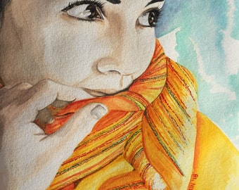 Portrait Art, watercolor print, girl, yellow scarf, home decor, wall art