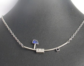 Sterling Silver and Boulder Opal Geometric Necklace