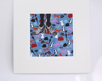 MARY POPPINS perfectly mary poppins.  signed, numbered, limited edition faerie tale feet print of everyone's favorite magical nanny