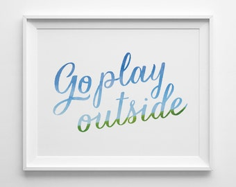Go Play Outside Kids Wall Art, Blue and Green Kids Room Decor, Modern Playroom Decor, Boys Room Decor, Pastel Play Room Art, Summer Blue Sky
