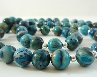 Blue Crazy Lace Agate Necklace Gemstone Necklace Blue Agate Necklace Blue Gemstone Necklace Blue Bead Necklace Blue Agate Strand