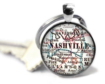 Nashville Keychain, Tennessee map keychain, Nashville map key chain, Custom Tennessee keychains, Customized Keychains, Men Gift Idea, A289