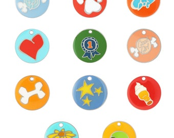 Colorful Designer Dog Tags by Andrew - 11 Designs - 2 Sizes