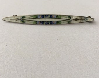 Sterling silver elongated brooch