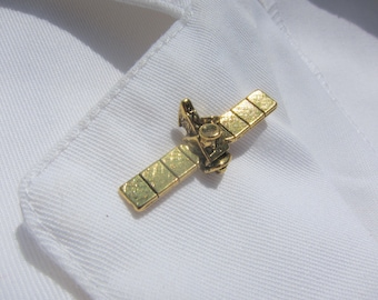 Gold Satellite Lapel Pin- CC210G- Science and Space Pins for Scientists, Nerds, Geeks, and Astronauts