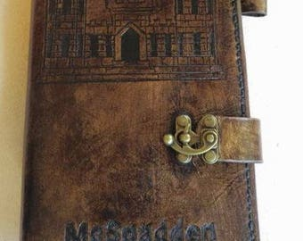 """Army Corps of Engineers hand carved leather cover for leader's green notebook / Army /  NCO Measures 8.75 """" X 5.5"""""""