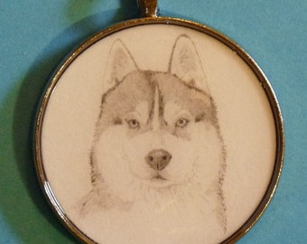 Siberian Husky Original Pencil Drawing Pendant with Organza Pouch -Choice of Necklaces -Free Shipping- Desert Impressions