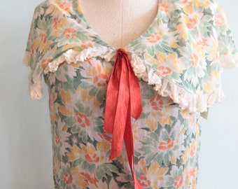 Vintage 1920s Sweet Flapper Floral Sheer Day Dress - Size XSmall