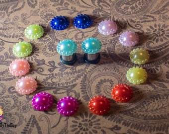 Pretty and elegant pearl plugs, stainless steel single flare ear plugs, 4g - 5mm, 2g - 6mm, 0g - 8mm, 00g - 10mm