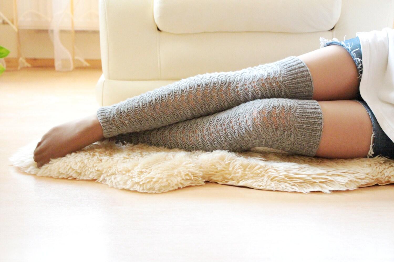 Thigh high long over the knee socks wool leg warmers spring