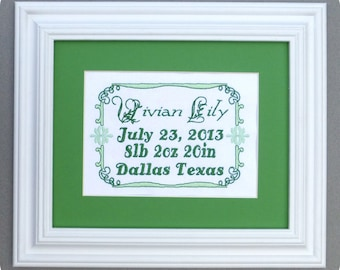 Traditional Vine - Custom Embroidered Birth Announcement Keepsake