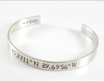 Custom Coordinates Bracelet | Sterling Silver Cuff Bracelet, Latitude Longitude Bracelet, Romantic Gifts for Her