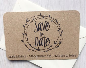 Save the date cards - Kraft save the date card - Rustic save the date cards